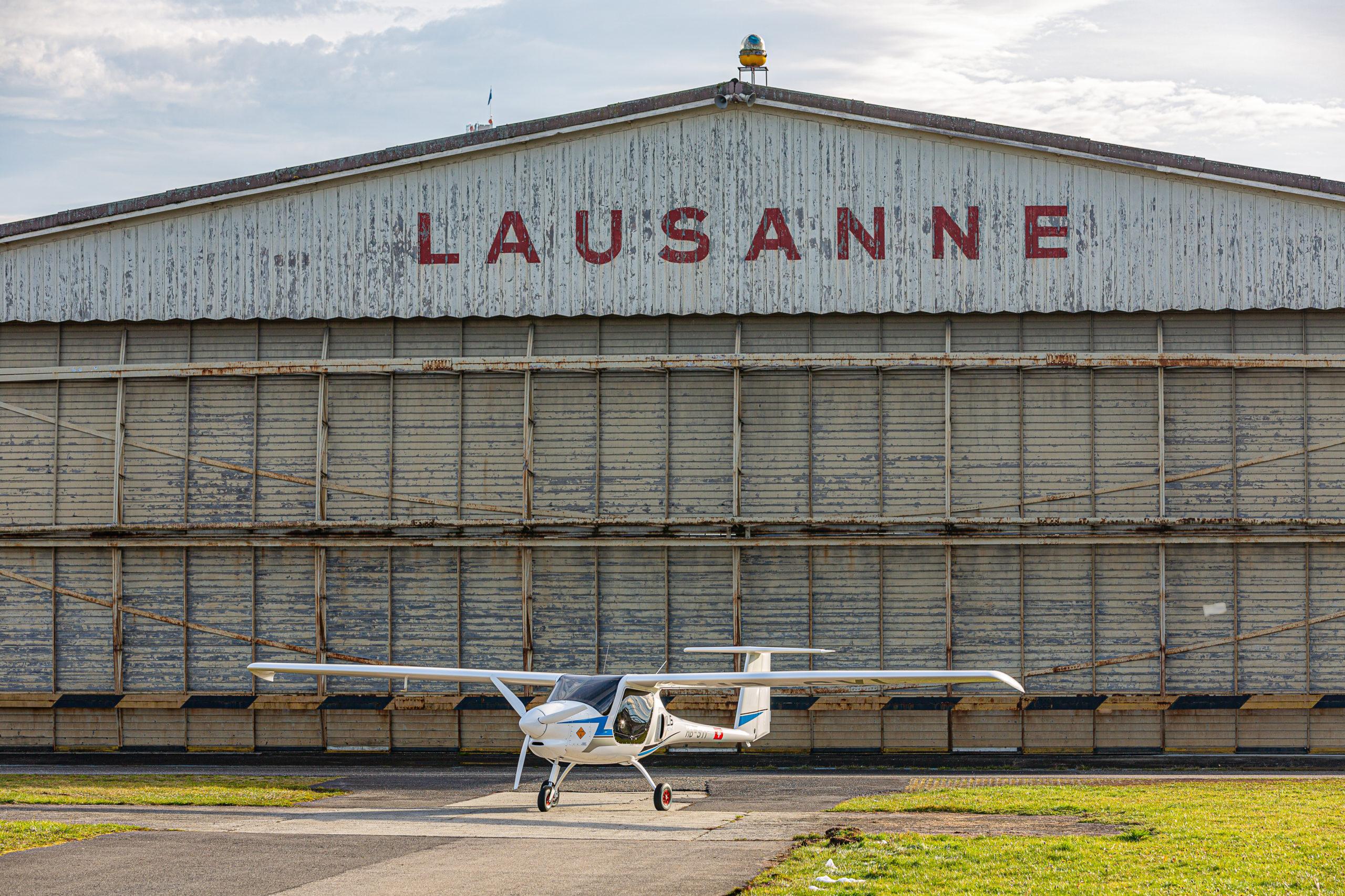 Arrivée du Pipistrel Velis à l'Aéroport de Lausanne Bléchere